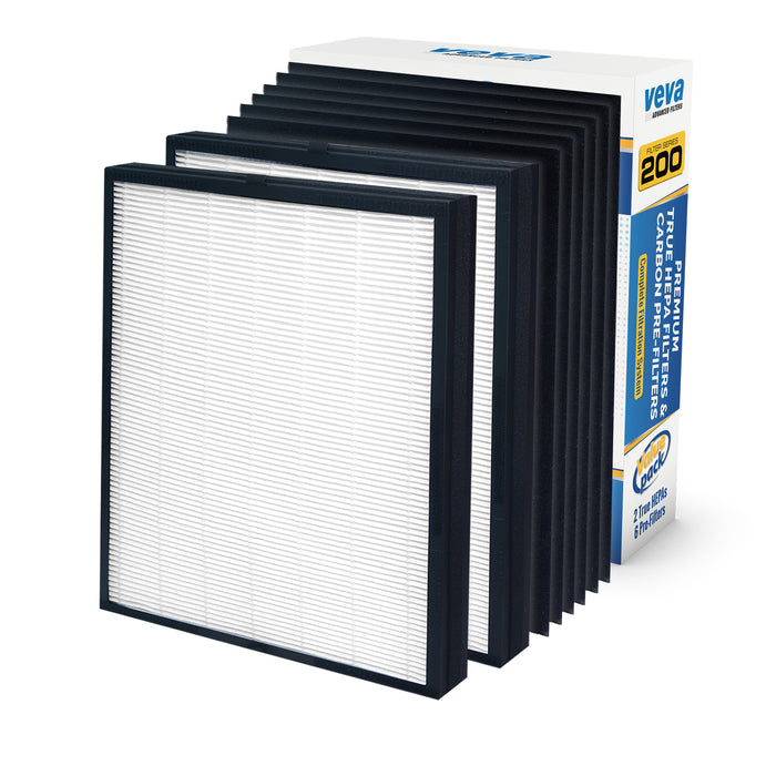 HEPA VEVA 2 True HEPA Replacement Filter Pack with 6 Activated Carbon Pre Filters for Blueair 200/300 Series Models 201, 203, 205, 215B, 250E, 270E, 303