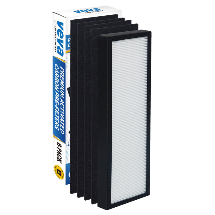 HEPA VEVA True HEPA Replacement Filter Including 4 Activated Carbon Pre Filters for Germ Guardian AC4300/AC4800/AC4900/AC4825 Series and FLT4825 Filter