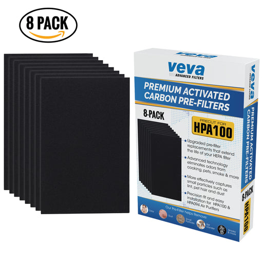 PRE VEVA Precut for HPA100 Premium Carbon Activated Pre Filters 8 Pack compatible with Honeywell Air Purifier Models 090, 094, 100, 104, 105, HA106