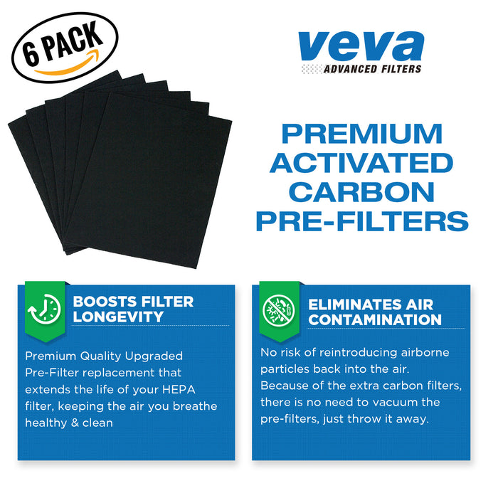 HEPA VEVA True HEPA Filter with 6 Activated Carbon Pre Filters for Winix 115115 Size 21 and Plasmawave P300, 5300, 5500, 6300 & Fellowes Aeramax 290, 300, DX95