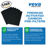 True HEPA Filter with 6 Activated Carbon Pre Filters compatible with Winix 115115 Size 21 and with PlasmaWave P300, 5300, 5500, 6300 & Fellowes Aeramax 290, 300, DX95