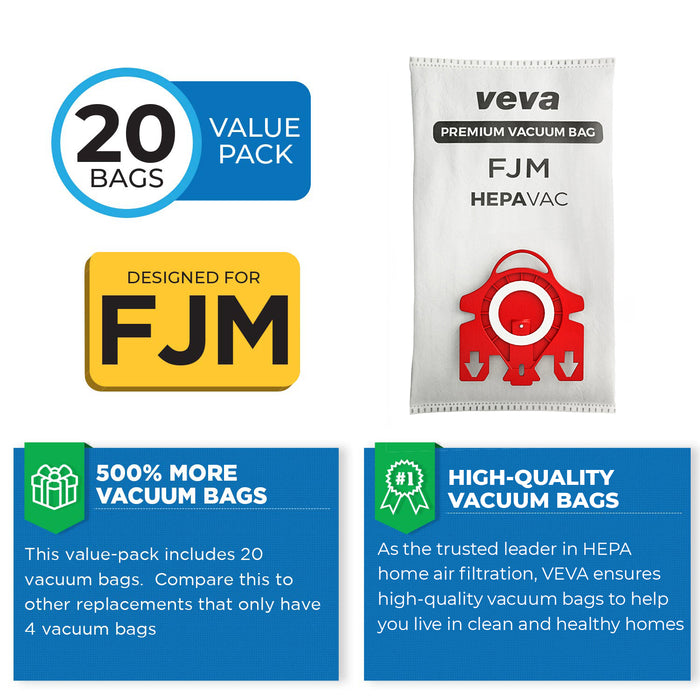 Vacuum Bags VEVA VEVA 20 Premium HEPA Vacuum Bags Style FJM for Miele Vacuums Compact C1, C2; Complete C1 and AirClean 3D Efficiency Canister Bag