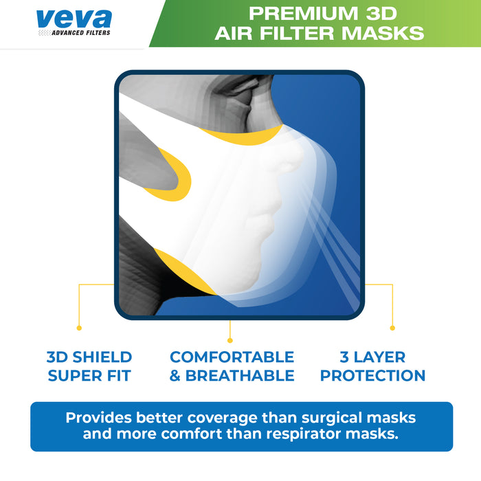 FACE MASKS VEVA VEVA Premium 3D Face Mask 100 Pack-More Comfortable Protection from Dust, Pollen, Bacteria, Virus Carrying Particles, with Soft Stretchable Earloops