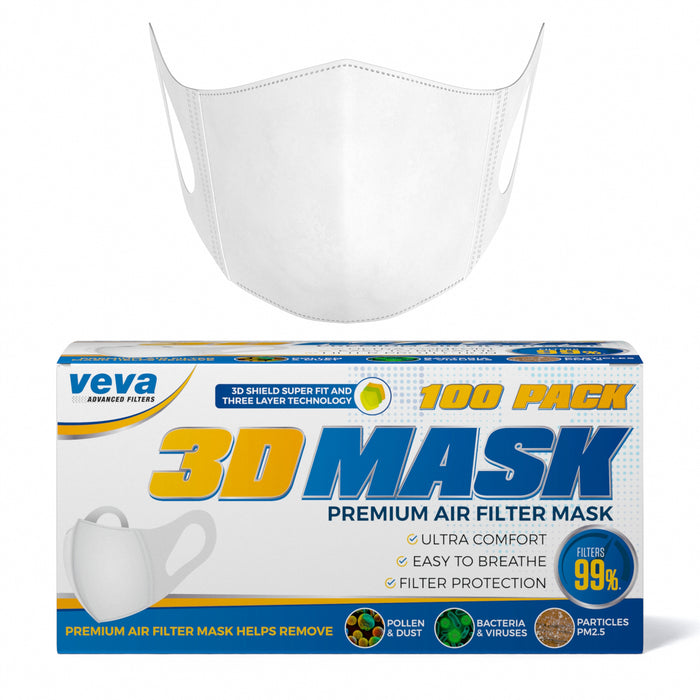 Pack-more Mask Particles Premium 3d Bacteria Comfortable Protection Dust With From Earloops 100 Soft Stretchable Virus Pollen Carrying Veva Face