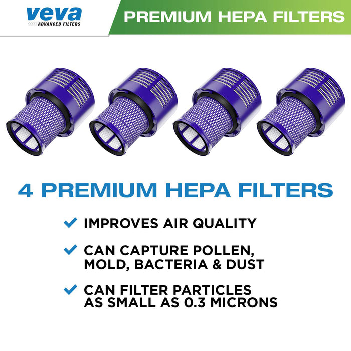 Vacuum Filters VEVA VEVA 4 Premium Vacuum HEPA Filters Set Compatible with Dyson Cyclone V10, SV12, Filter Part # 969082-01