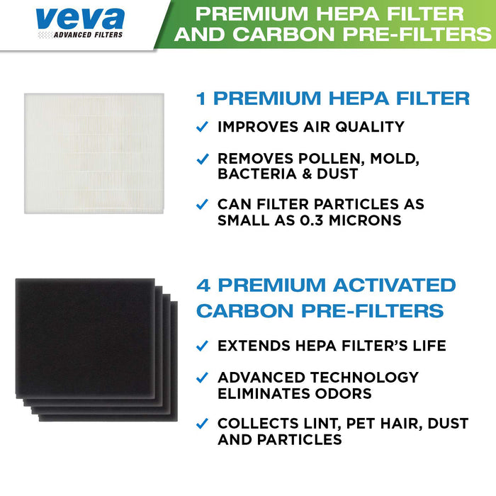 HEPA VEVA VEVA 1 Premium HEPA Filter Including 4 Carbon Pre Filters Compatible with AP-1512HH 3304899 CW Air Purifier Advanced Filters