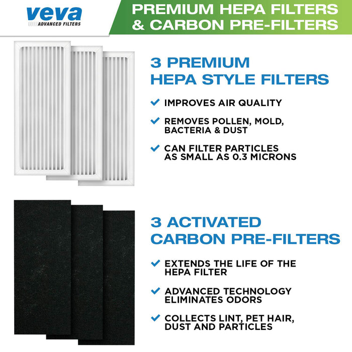 VEVA Premium Filter 6 Pack Including 3 HEPA Style Filters and 3 Full-size Activated Carbon Pre-Filters Compatible with Hamilton Beach Air Purifier 04383, 04384 and 04386, 100% Safe and Zeolite Free