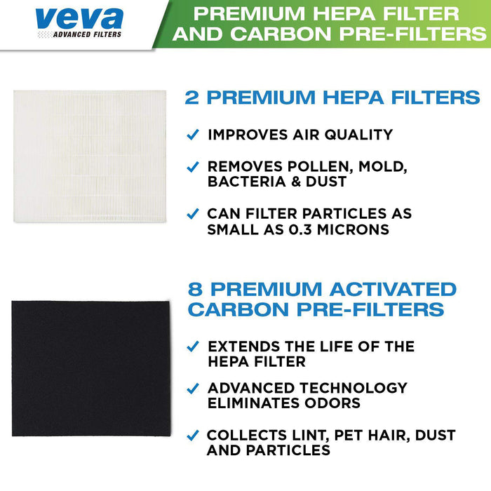 HEPA VEVA Premium HEPA Replacement Filter 2 Pack Including 8 Carbon Pre Filters compatible with AP-1512HH CW Air Purifier