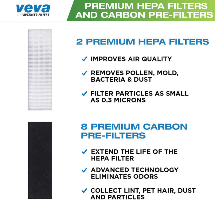 HEPA VEVA Premium 2 HEPA Filter with 8 Activated Carbon Pre Filters for Fellowes AeraMax Air Purifier 90, 100, 90/100, DX5 & DB5 9287001 9324001