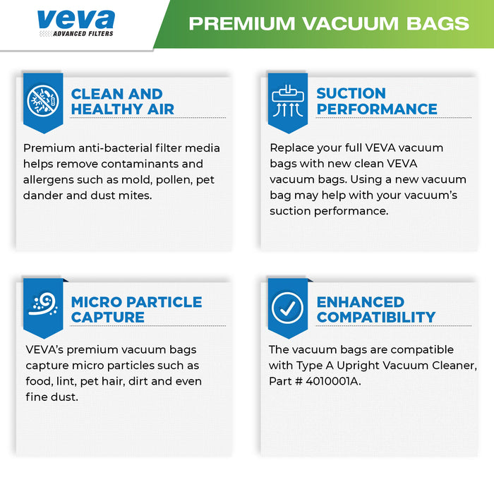 Vacuum Bags VEVA VEVA 30 Pack Premium SuperVac Vacuum Bags Style A Compatible with Hoover Type A Upright Vacuum Cleaner, Model 4010001A