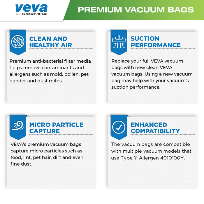 Vacuum Bags VEVA VEVA 30 Pack Premium SuperVac Vacuum Bags Type Y for Hoover WindTunnel Upright Vacuum Cleaners Style Y, YZ, Z Allergen 4010100Y Models Replacement Bag