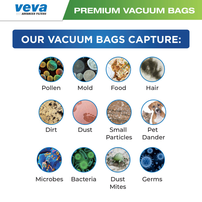 Vacuum Bags VEVA VEVA 20 Premium HEPA Vacuum Bags Style FJM and 8 Filters for Miele Vacuums Compact C1, C2; Complete C1 and AirClean 3D Efficiency Canister Bag