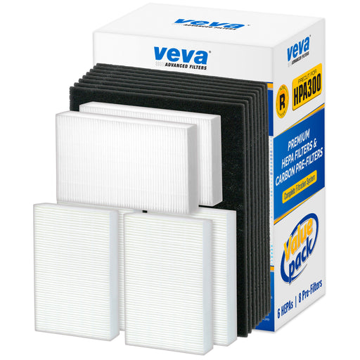 HEPA VEVA VEVA Premium HEPA Replacement Filter 6 Pack Including 8 Precut Activated Carbon Pre-Filters for HPA300 Compatible with HW Air Purifier 300 and Filter R