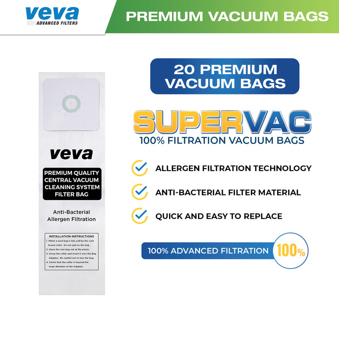 Vacuum Bags VEVA VEVA 20 Pack Premium SuperVac Vacuum Gallon Bags for Nutone 391 Central Vac Vacuum Cleaners Replacement Models CV350 CV352 CV353 CV450 CV653 CV750