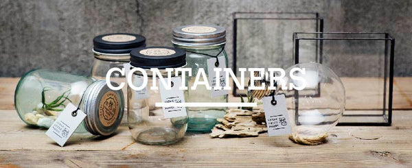 Collection of containers. Use the containers to make a terrarium and place air plants inside.