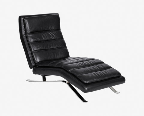Contemporary black leather recliner cushion seat