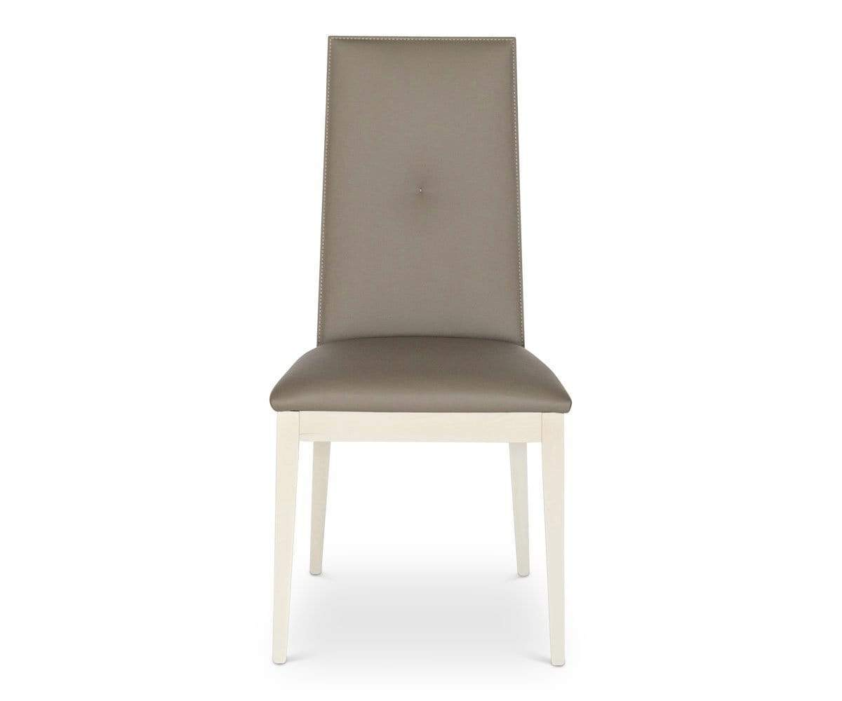 Upholstered hi gloss dining chair
