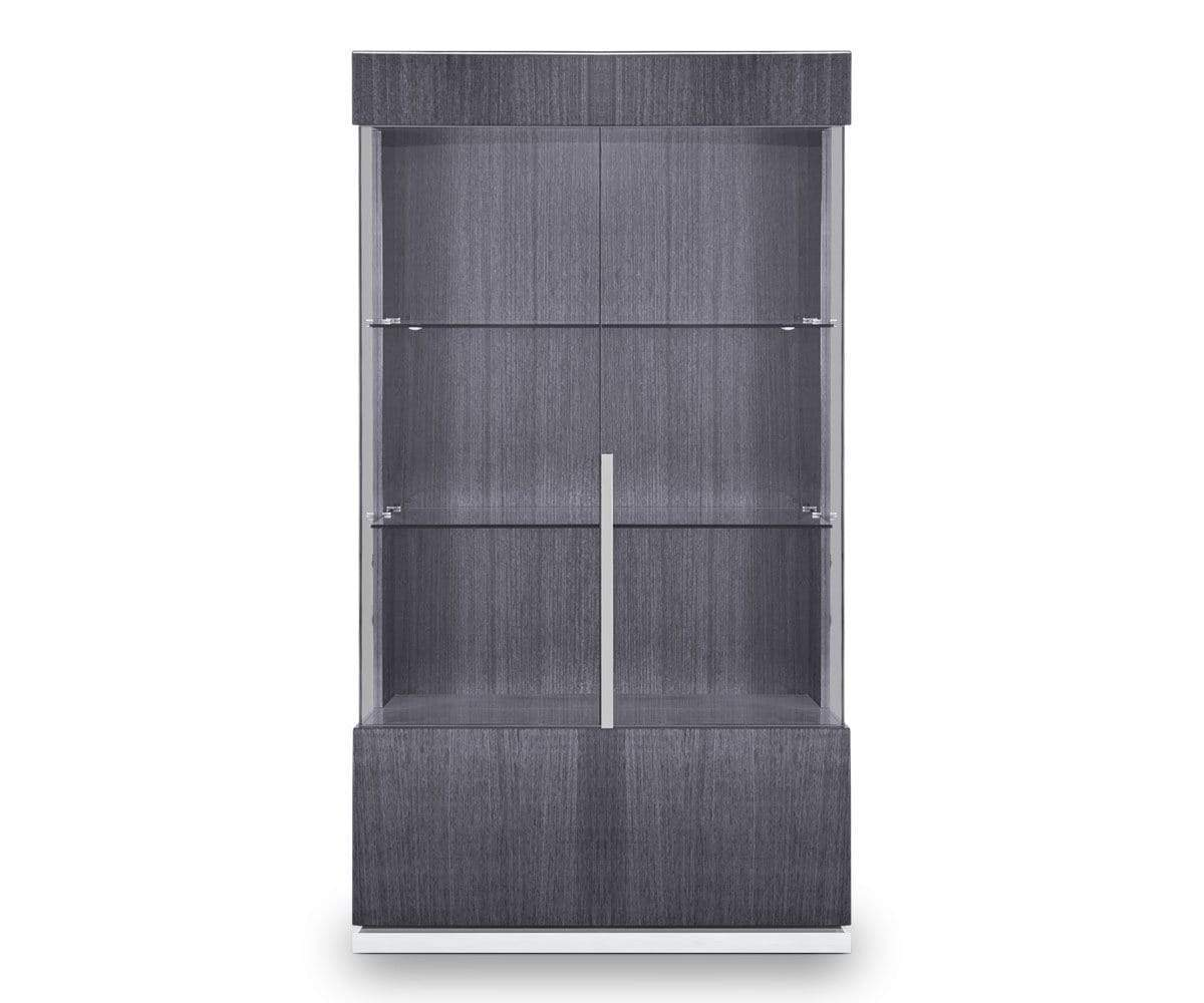 High gloss grey contemporary glass display cabinet