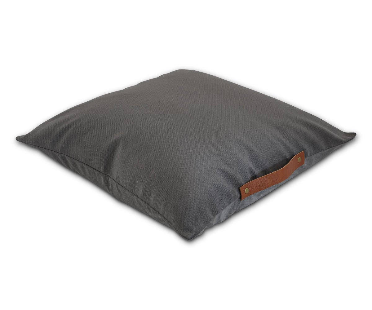 elegant pillow, leather handle