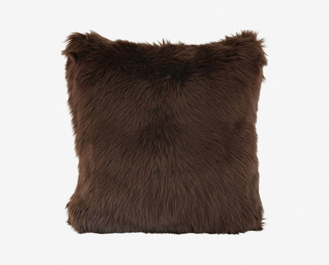 Plush shag brown fur pillow