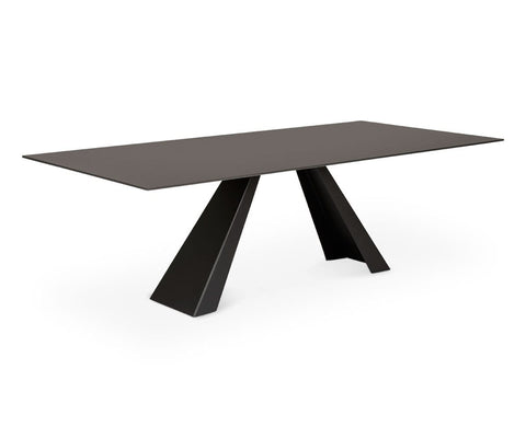 "Gunnar 94.5"" Dining Table Grey Glass - Scandinavian Designs"