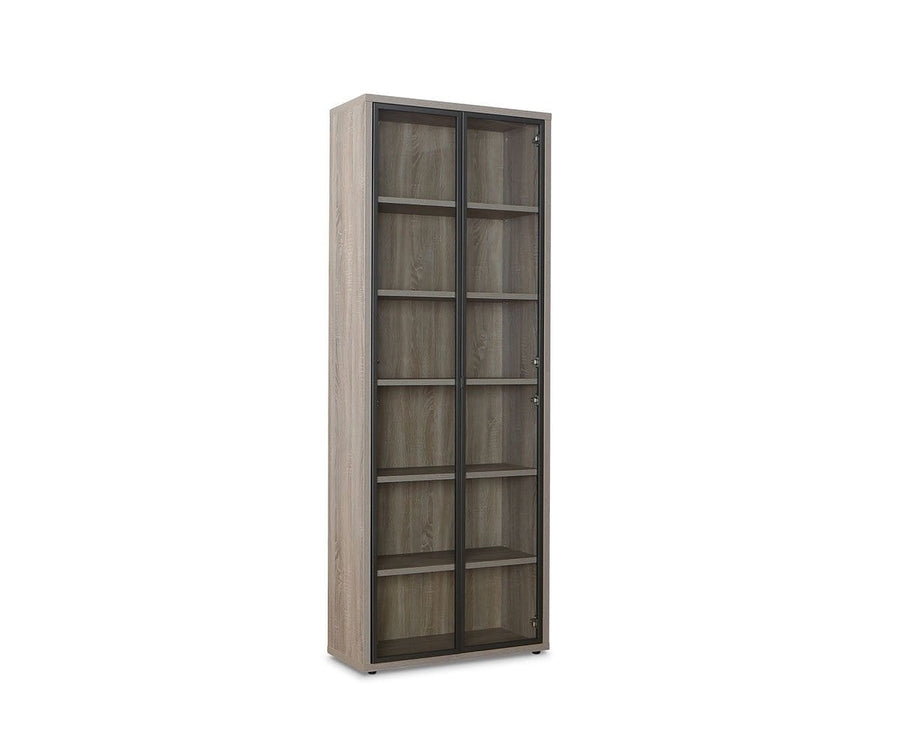 Gammel High Bookcase with Glass Doors TRUFFLE OAK - Scandinavian Designs