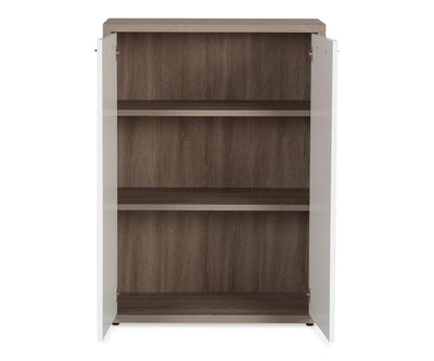 Gammel Low Bookcase with Doors TRUFFLE OAK - Scandinavian Designs