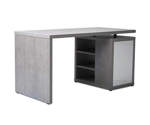 "Sten 55"" Desk With Storage White/Cement - Scandinavian Designs"