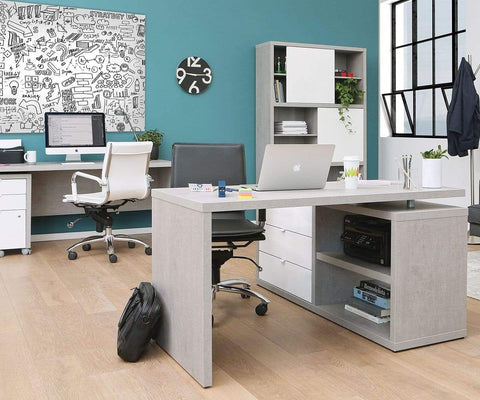 "Sten 60"" Desk With Storage Return White/Cement - Scandinavian Designs"