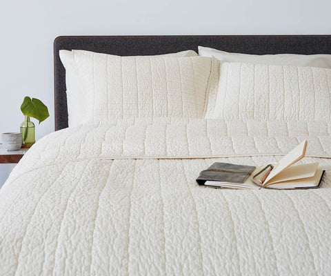 Modern white minimalist plush bedding