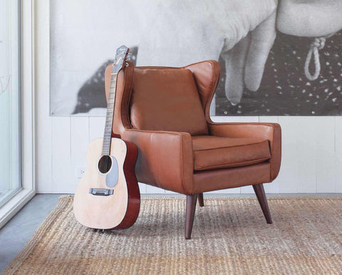 Mid-century modern style wingback leather chair