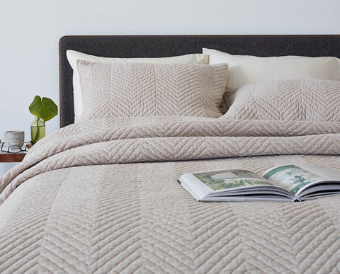 Quilt textured modern minimalist grey bedding