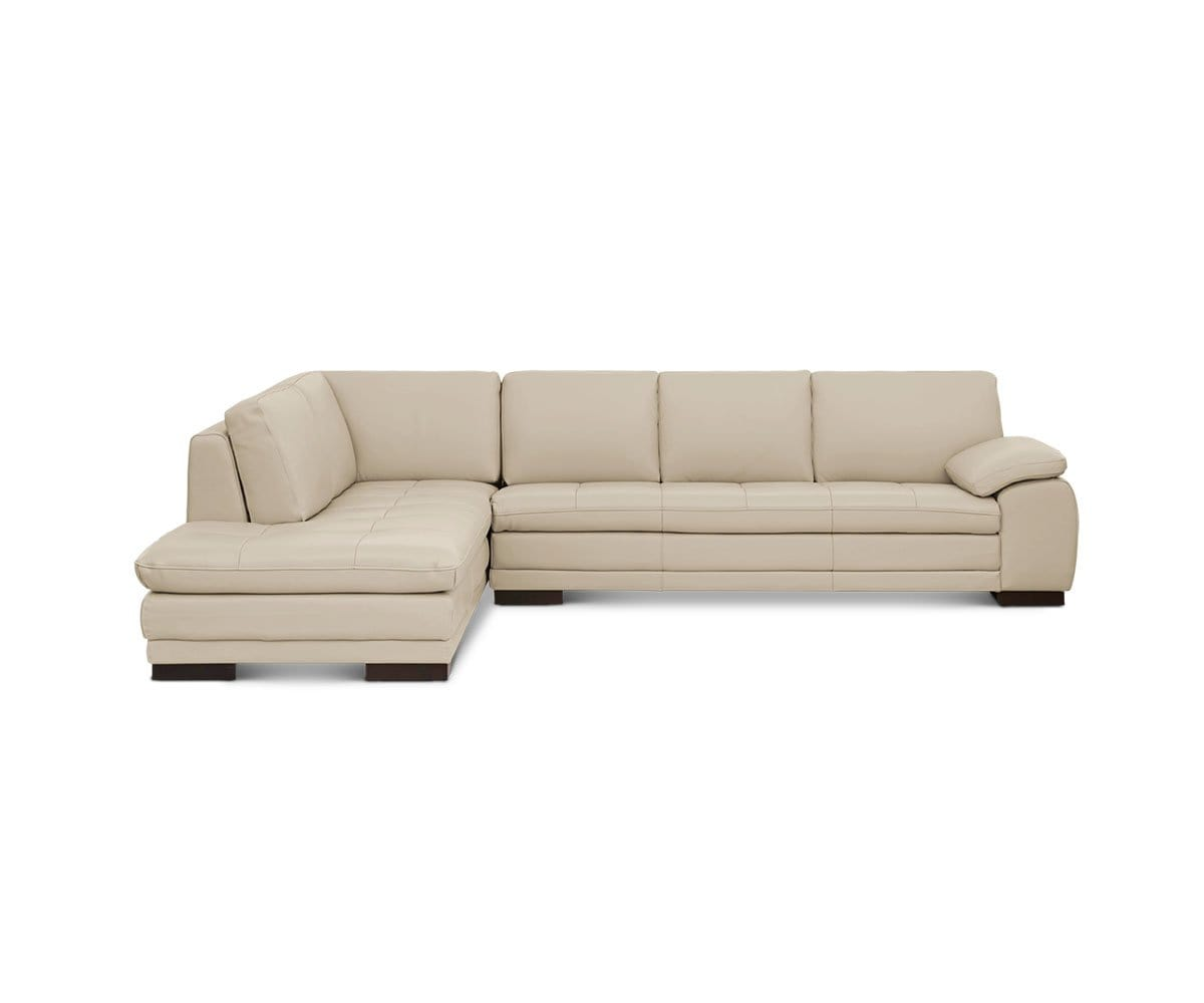 Plush Beige Contemporary Leather Chaise Sofa. Cercis Leather Left Sectional