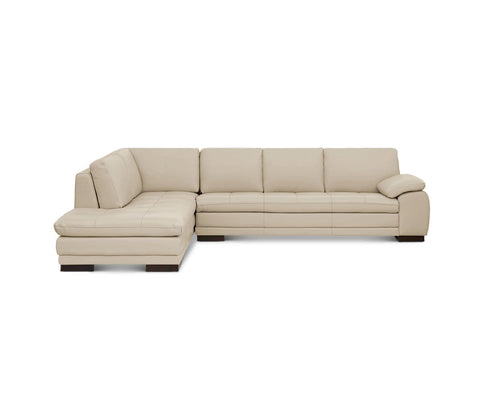 Plush beige contemporary leather chaise sofa