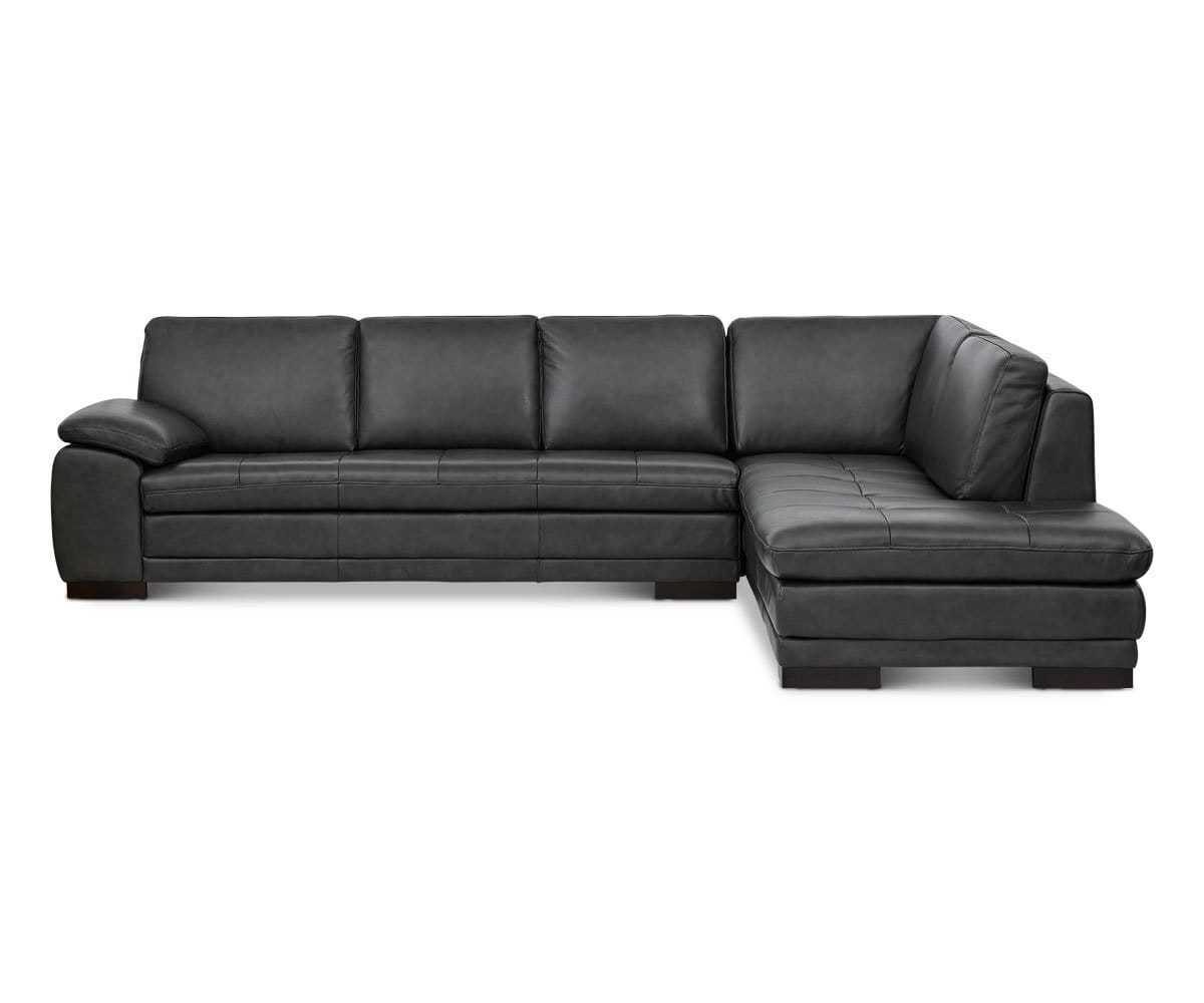 plush grey leather tufted sectional chaise