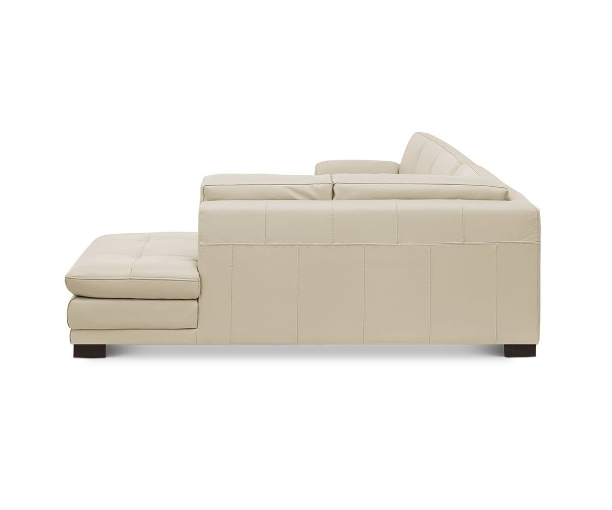 Modern Scandinavian Leather Sectional Chaise