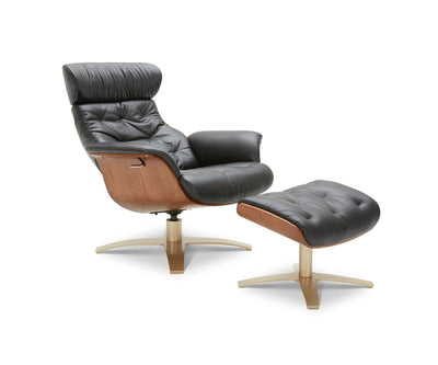 Anselmo Leather Chair & Ottoman Black L-2929 - Scandinavian Designs