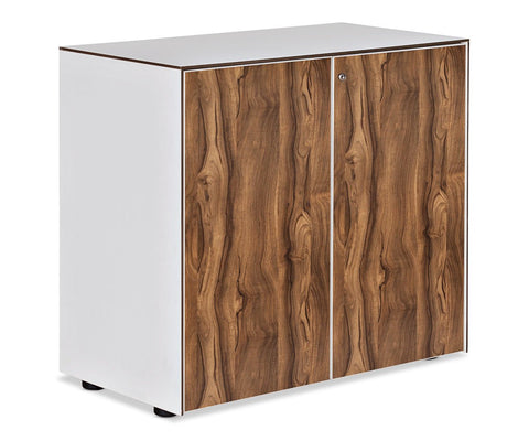 Contemporary white low file cabinet