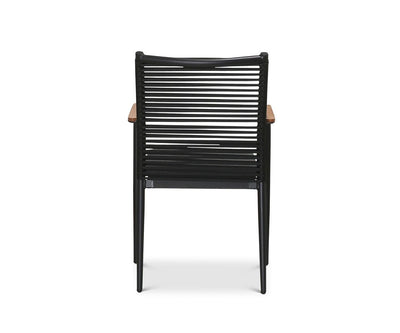 Jaren Dining Chair Black Powder Coat/Teak - Scandinavian Designs