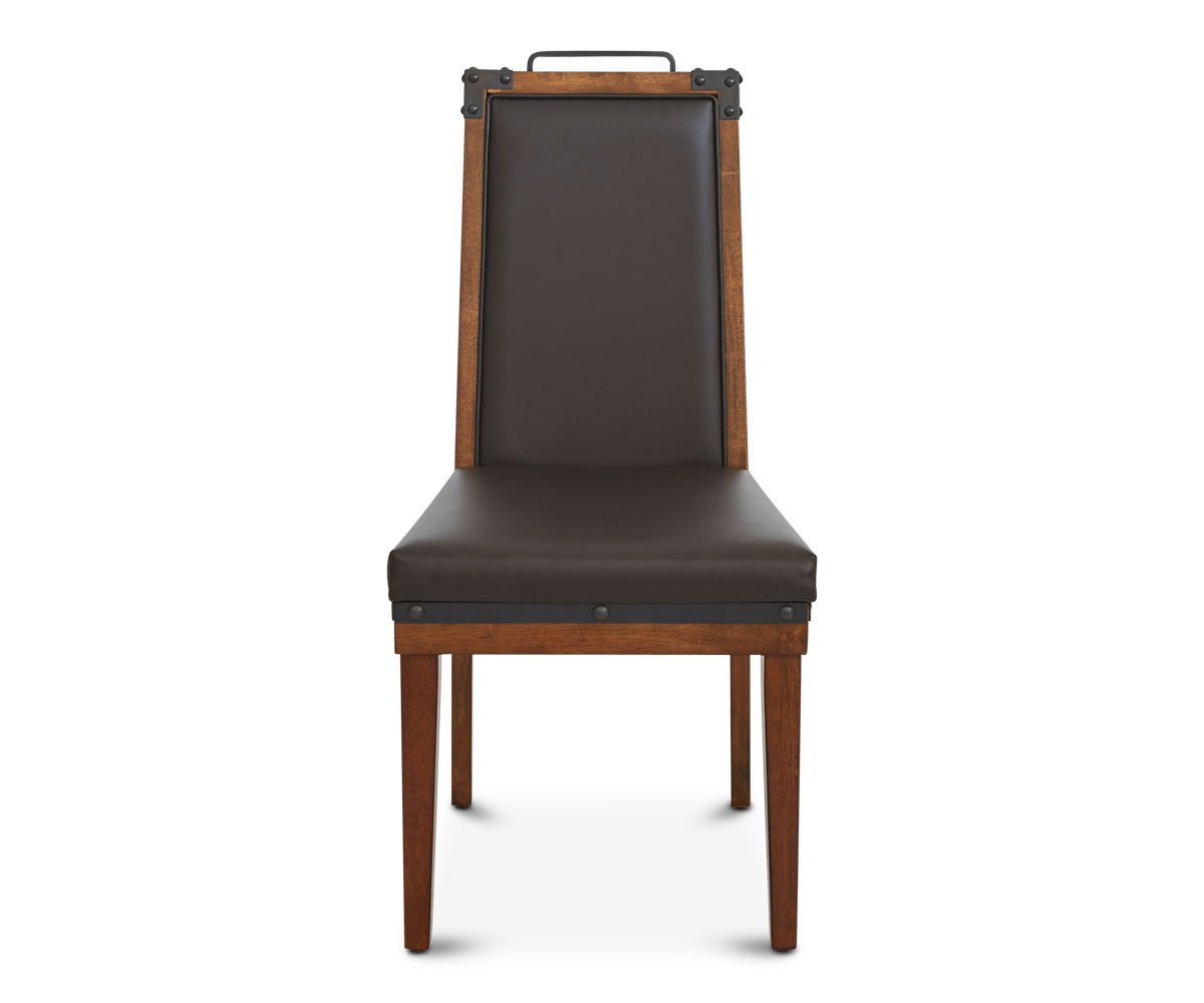 Wood metal leather dining chair
