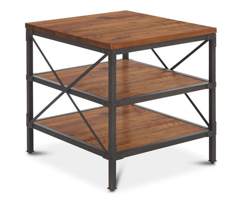 Contemporary industrial rustic design end table