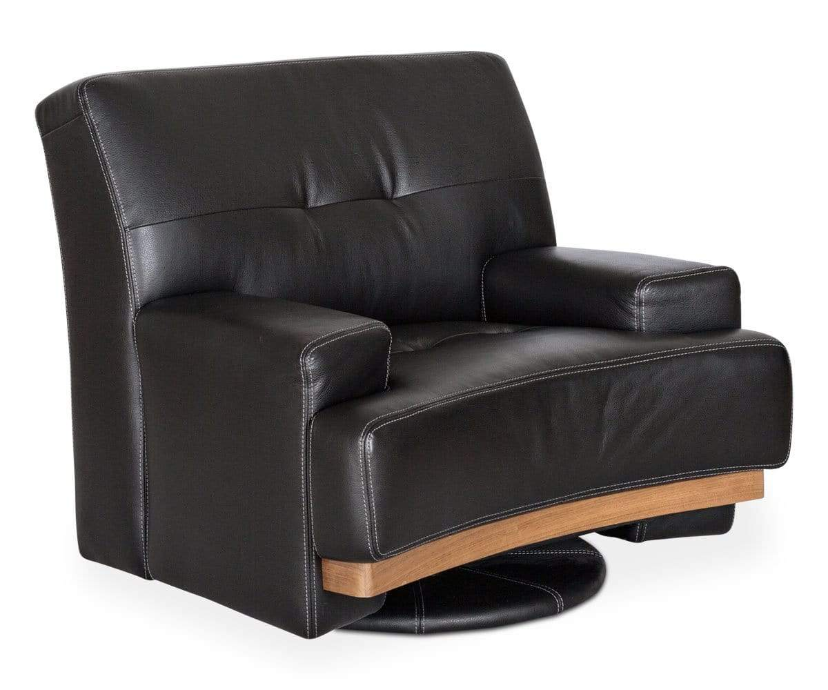 Black upholstered leather swivel seat