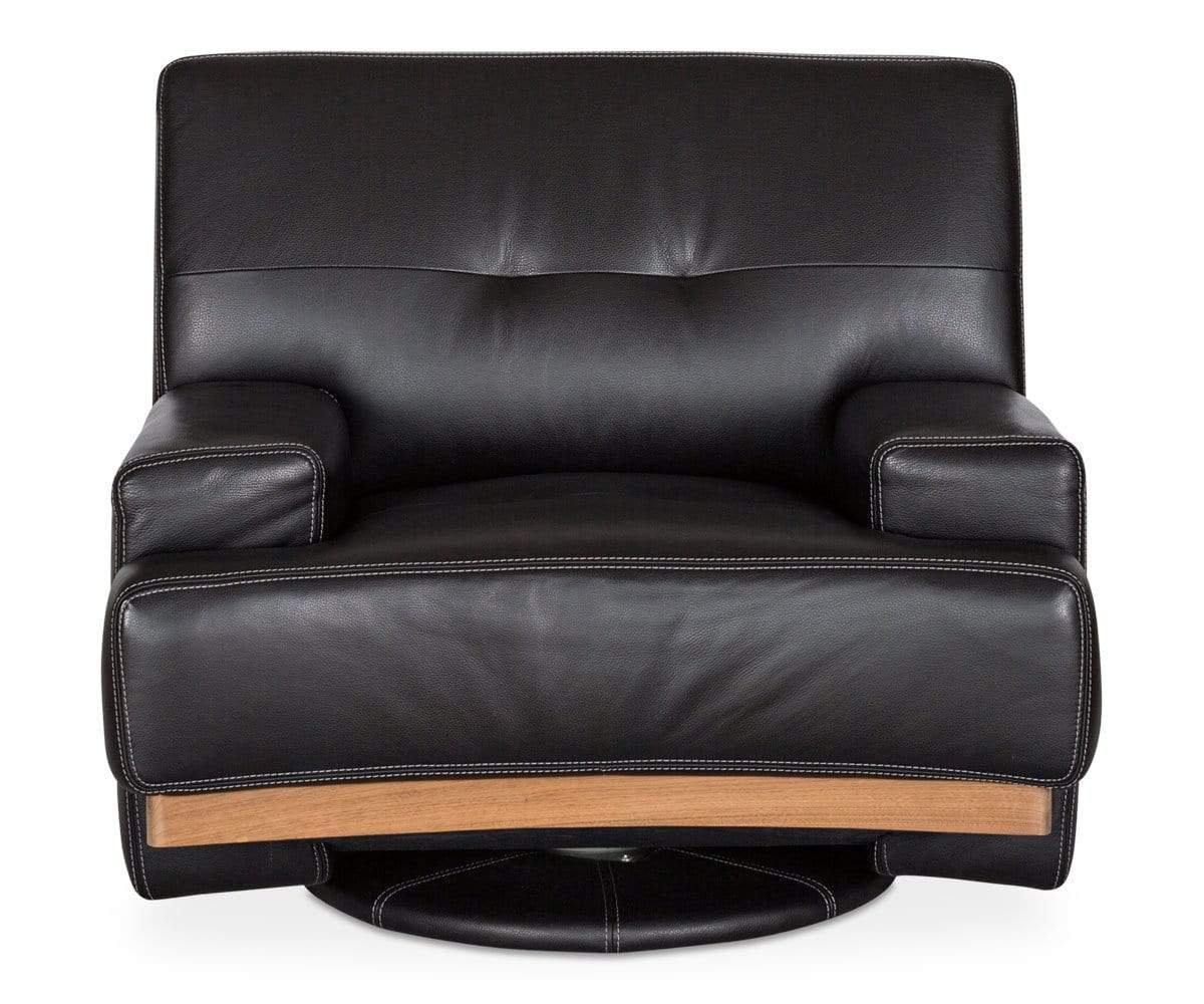 Modern tufted wood leather swivel chair