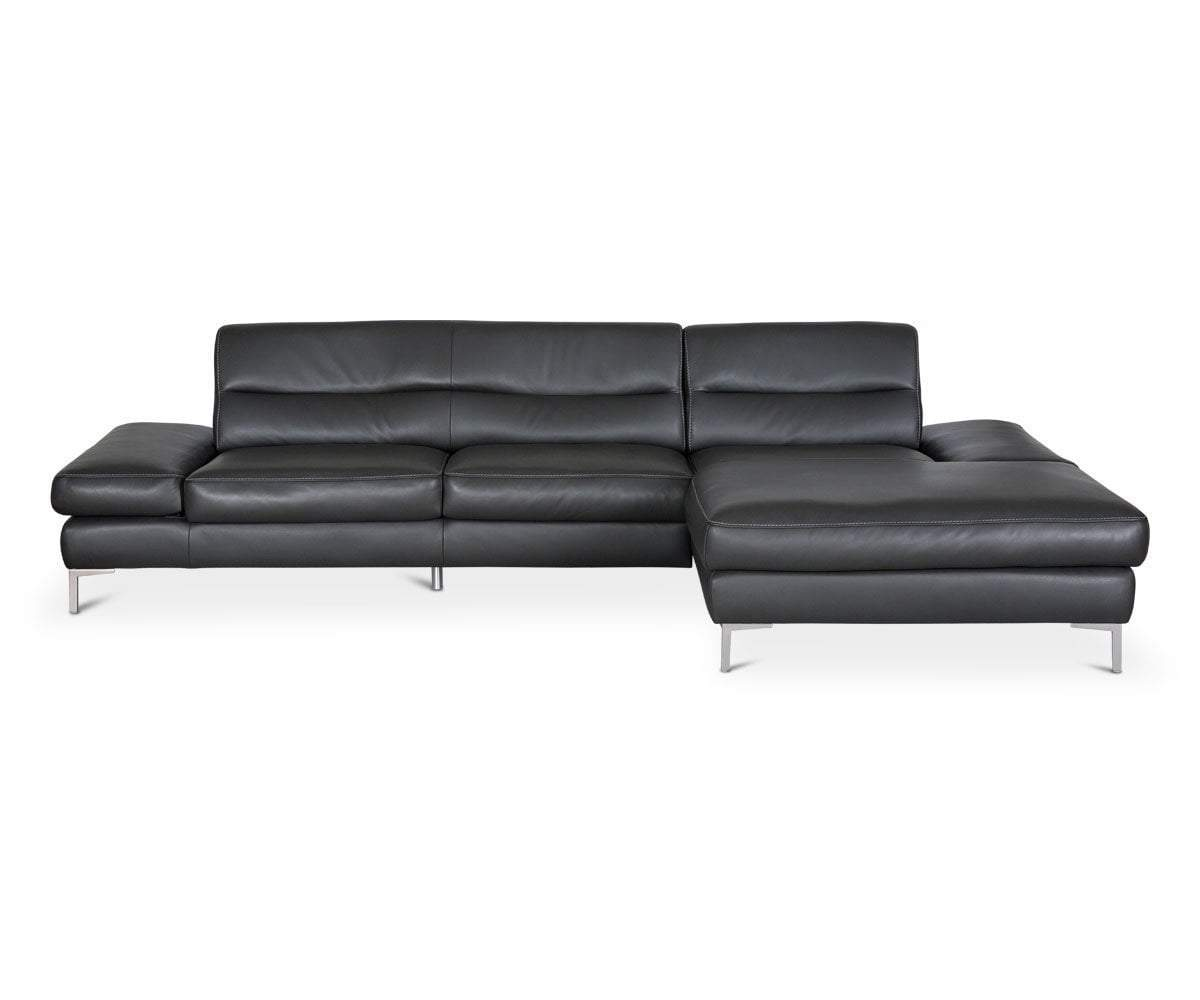CAMPSIS LEATHER RIGHT CHAISE SECTIONAL - ANTHRACITE