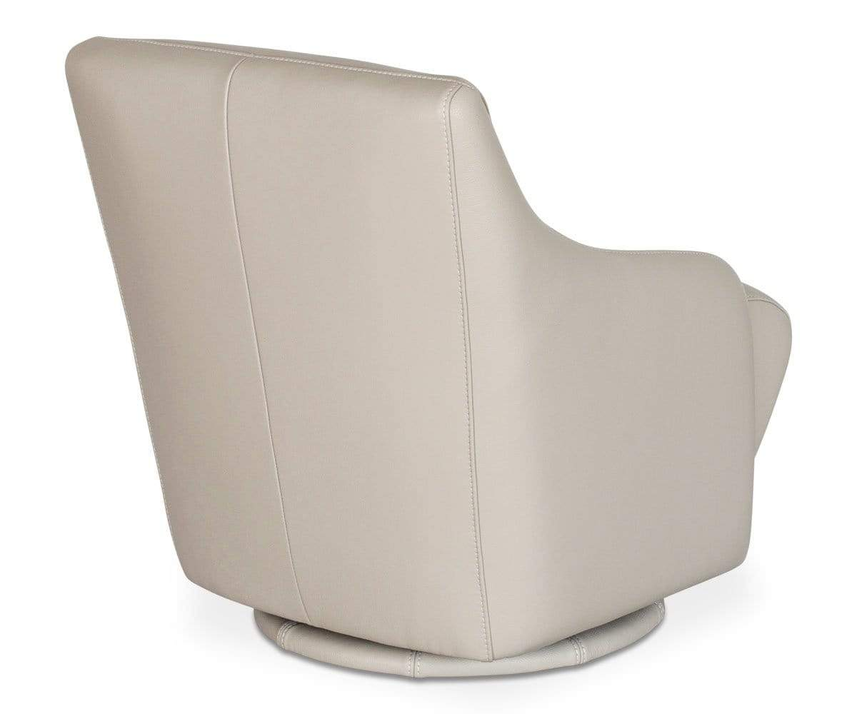 Tailored cushioned Scandinavian design leather swivel chair