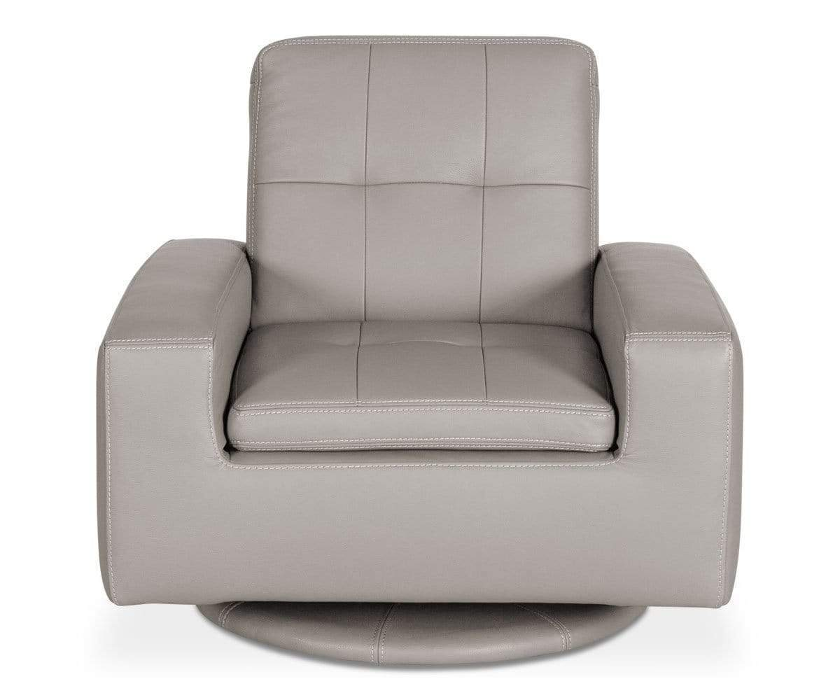 Contemporary Grey Upholstered Leather Swivel Chair