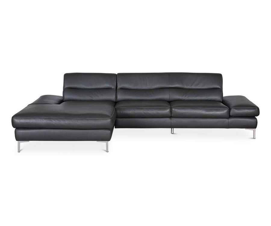 Campsis Leather Left Chaise Sectional ANTHRACITE Z76/95 - Scandinavian Designs