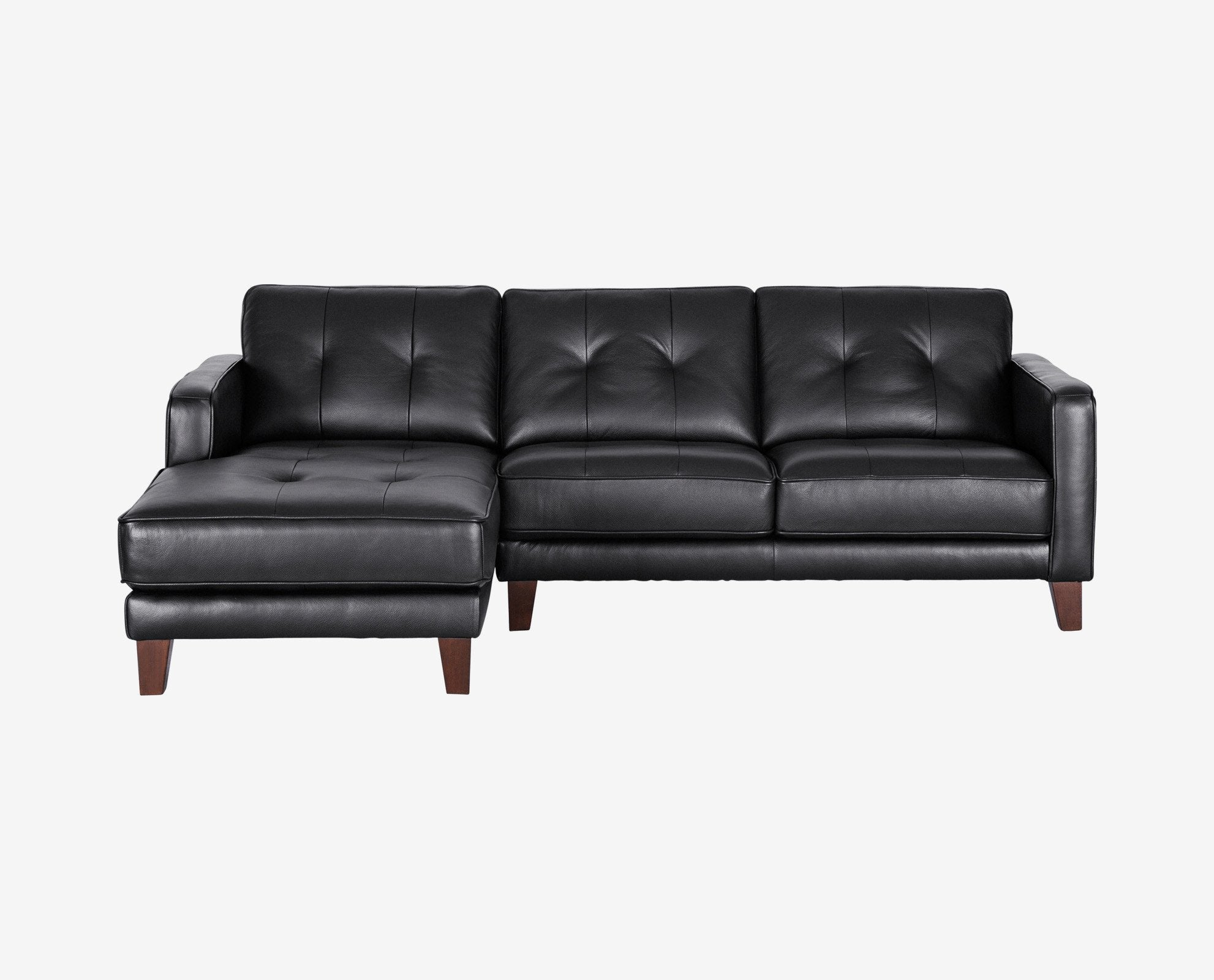 Black contemporary tufted leather chaise sectional