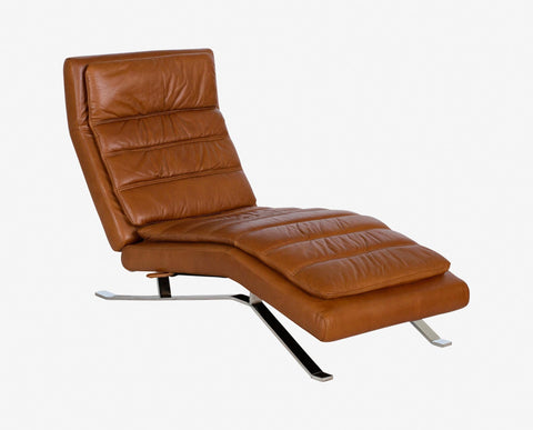 Contemporary padded leather recliner seat
