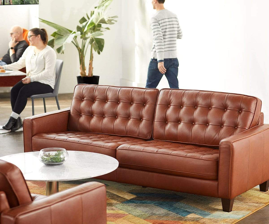 Gustav Leather Sofa Caramel B8008 - Scandinavian Designs